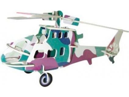 WOODEN TOY , WCK 3D puzzle Bojový vrtulník barevný
