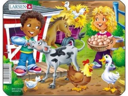 LARSEN Puzzle Na farmě s telátkem 9 dílků
