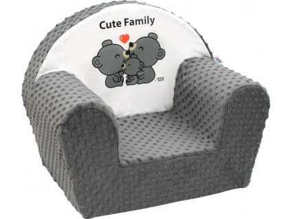 Dětské křeslo z Minky New Baby Cute Family šedé