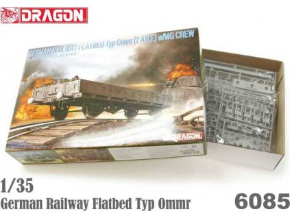 Model Kit military 6085 - GERMAN RAILWAY FLATBED Typ Ommr (2 AXLE) w/MG CREW (1:35)
