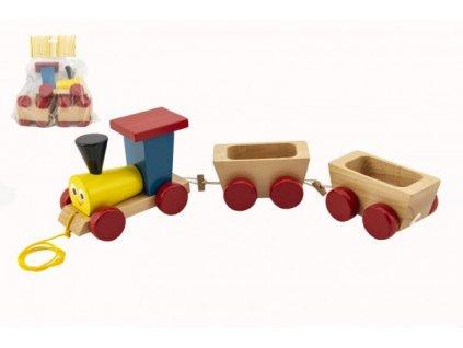 Vlak + 2 vagónky dřevo tahací barevný celková délka 43cm v sáčku