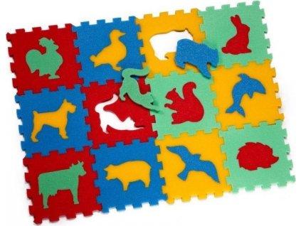 MALÝ GÉNIUS Pěnové puzzle Zvířata (13,5x13,5), 8mm (mix-4)