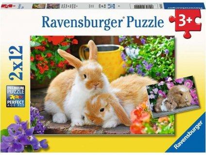 RAVENSBURGER Puzzle Čas na mazlení 2x12 dílků