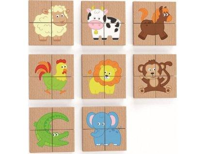 VIGA Dřevěné magnetické puzzle Zvířátka 32 dílků