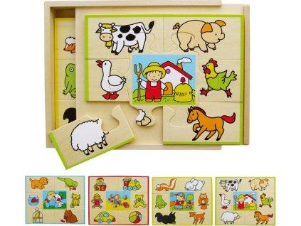 BABU Dřevěné puzzle v krabičce Co kam patří ?
