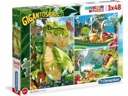 CLEMENTONI Puzzle Gigantosaurus 3x48 dílků