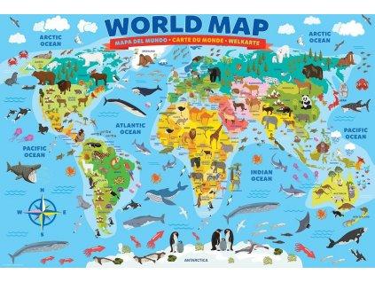 EUROGRAPHICS Puzzle Ilustrovaná mapa světa 100 dílků