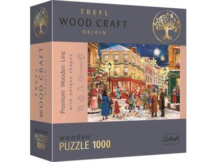 TREFL Wood Craft Origin puzzle Vánoční ulice 1000 dílků