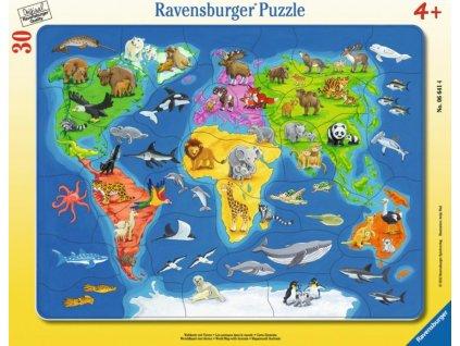 RAVENSBURGER Puzzle Mapa světa se zvířaty 30 dílků