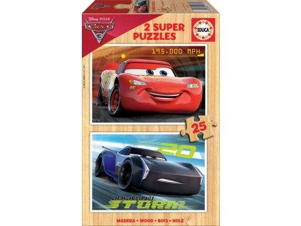EDUCA Dřevěné puzzle Auta 3, 2x25 dílků