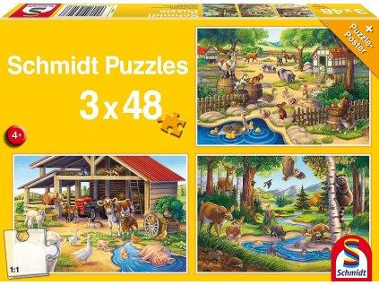 SCHMIDT Puzzle Má oblíbená zvířátka 3x48 dílků