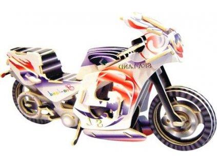 WOODEN TOY , WCK 3D puzzle Závodní motorka barevná