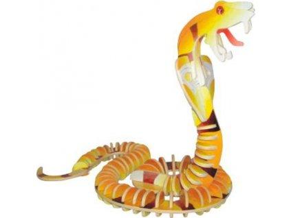 WOODEN TOY , WCK 3D puzzle Had - kobra barevná
