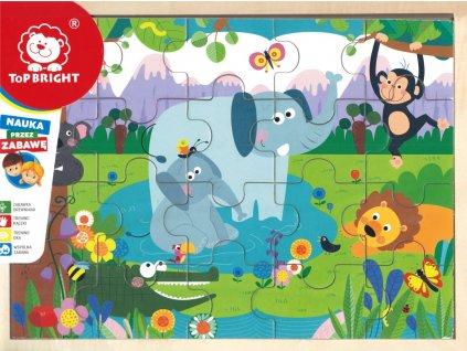 TOP BRIGHT Dřevěné puzzle Džungle 20 dílků