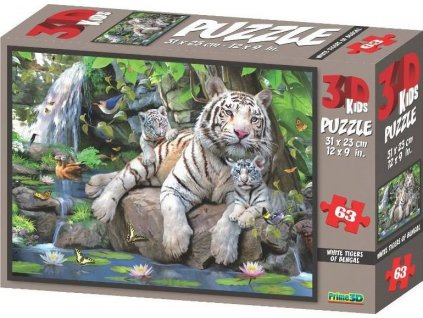 PRIME 3D Puzzle Bílí tygři bengálští 3D 63 dílků
