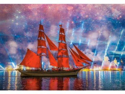 CASTORLAND Puzzle Červená fregata 1000 dílků