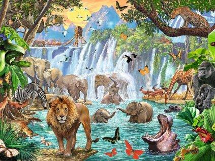 RAVENSBURGER Puzzle Zvířata u vodopádu 1500 dílků