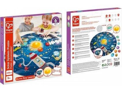 HAPE Dětské puzzle Sluneční soustava LED 102 dílků