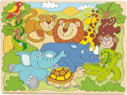 WOODY Dřevěné puzzle Safari 10 dílků