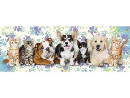DINO Panoramatické puzzle Kočky a psi 150 dílků