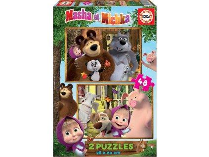 EDUCA Puzzle Máša a medvěd: S přáteli 2x48 dílků
