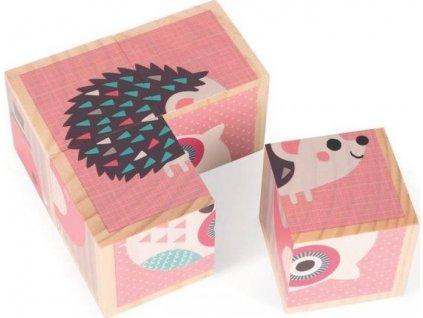 JANOD Dřevěné kostky Zvířátka, 4 kostky