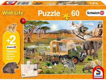 SCHMIDT Puzzle Schleich Záchrana zvířat 60 dílků + figurky Schleich