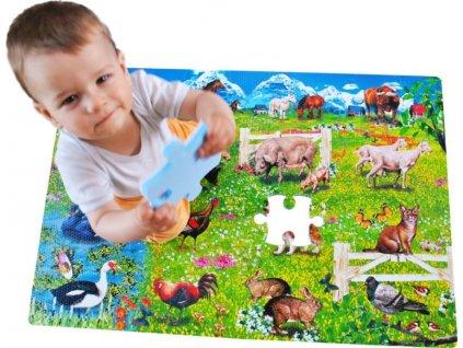 LC Pěnové podlahové puzzle Zvířata 54 dílků
