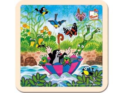 BINO Dřevěné puzzle Krtek s deštníkem 4 dílky