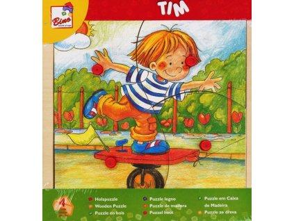 BINO Dřevěné puzzle Chlapeček Tim 4 dílky