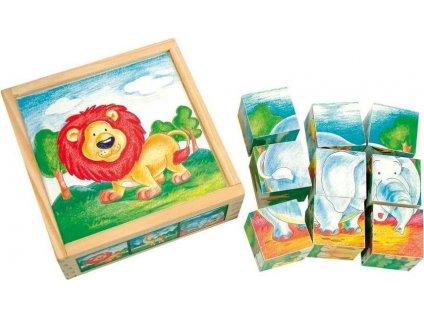 BINO Obrázkové kostky Divoká zvířátka, 9 kostek