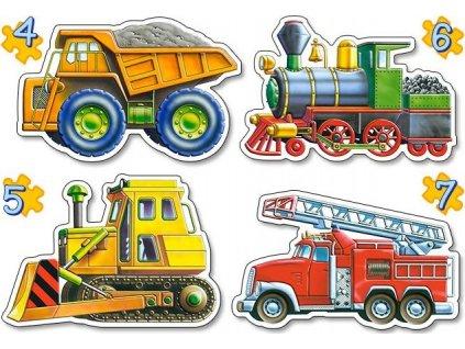 CASTORLAND Baby puzzle Dopravní prostředky 4v1 (4,5,6,7 dílků)