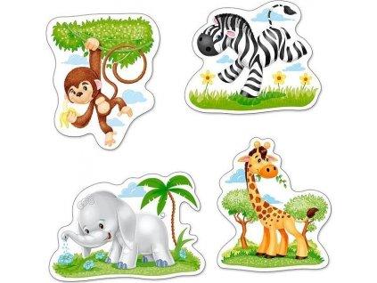 CASTORLAND Baby puzzle Africká zvířátka 4v1 (3,4,6,9 dílků)
