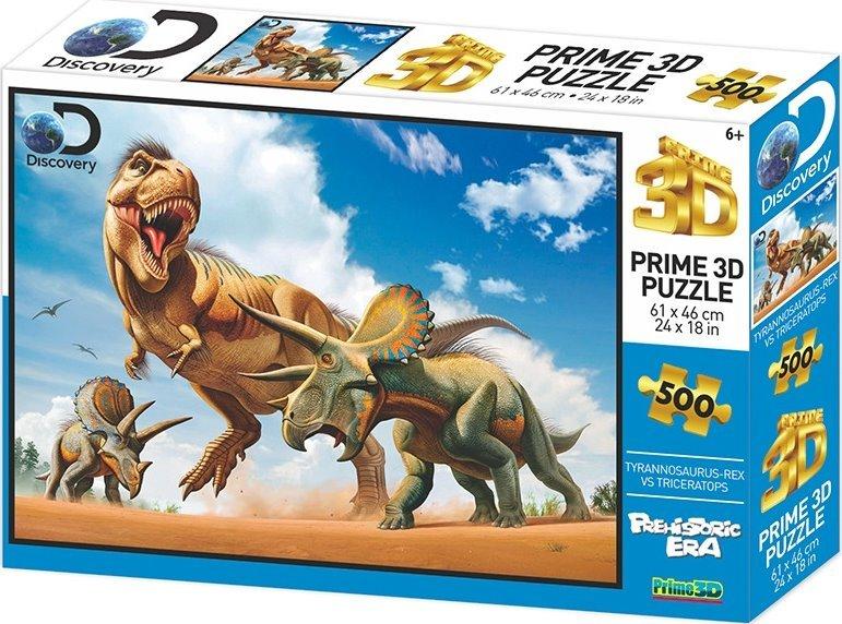 PRIME 3D Puzzle T-Rex vs.Triceratops 3D 500 dílků