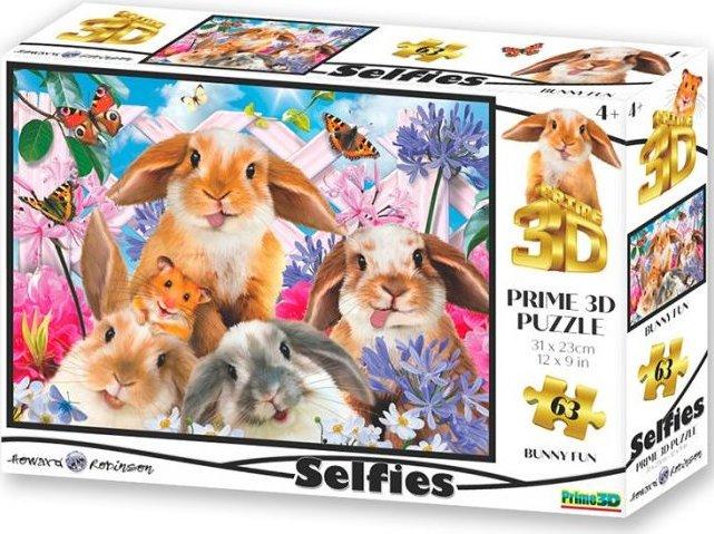 PRIME 3D Puzzle Králičí selfie 3D 63 dílků