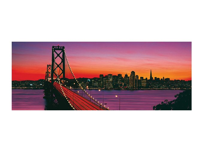 San Francisco - most za soumraku (Oakland Bay Bridge at Dusk)- panorama