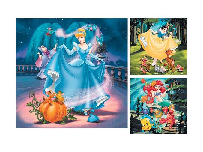 Walt Disney: Popelka, Sněhurka, Ariel - 3 x 49 dílků