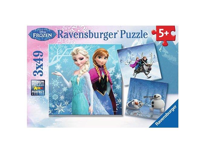 Walt Disney - Frozen: Ledové království - 3 x 49 dílků