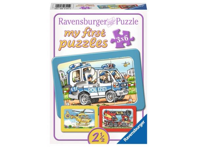 Moje první puzzle: Hasiči, policie, ambulance - 3 x 6 dílků - deskové