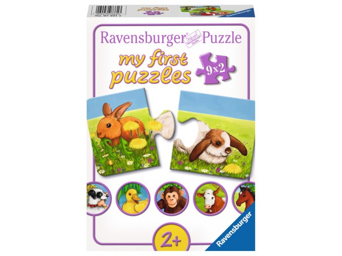 Moje první puzzle: Zvířátka - 9 x 2 dílky