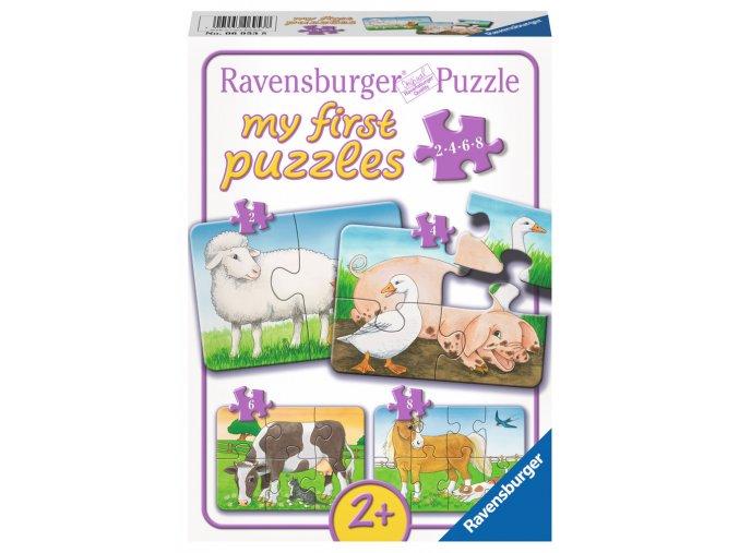 Moje první puzzle: Zvířátka z farmy - 2, 4, 6, 8 dílků