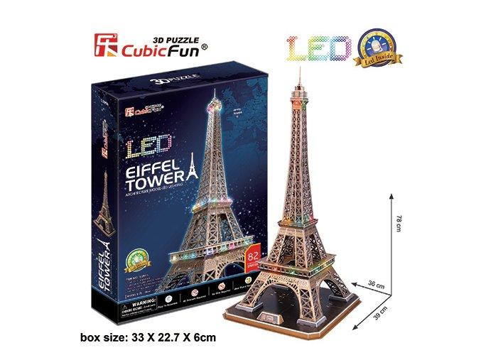 Eiffelova věž (Paříž) - 3D svítící (LED) - 82 dílky