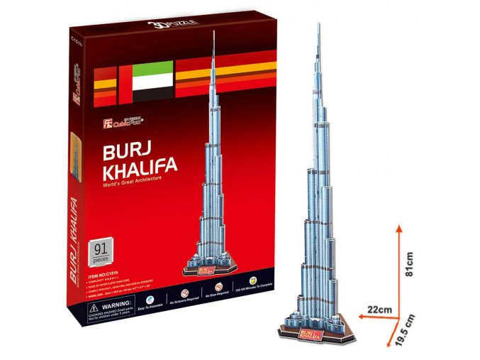Burj Khalifa (Spojené arabské emiráty) - 3D - 92 dílků