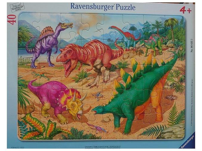Barevní dinosauři - deskové v rámečku - 40 dílků