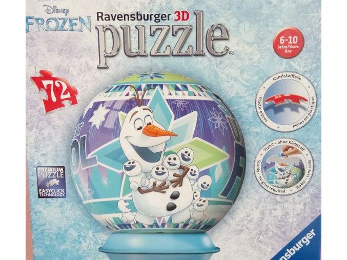 Walt Disney: Ledové království - Olafovo dobrodružství - 3D puzzleball 72 dílků