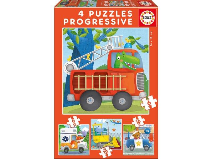 Zvířátka záchranáři - progresivní puzzle, 6, 9, 12, 16 dílků