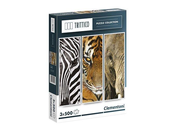 Trittico: Portrét zvířat - zebra, tygr, slon - 3 x 500 dílků
