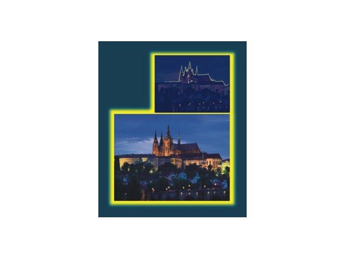 Večerní Praha - neon - svítí ve tmě