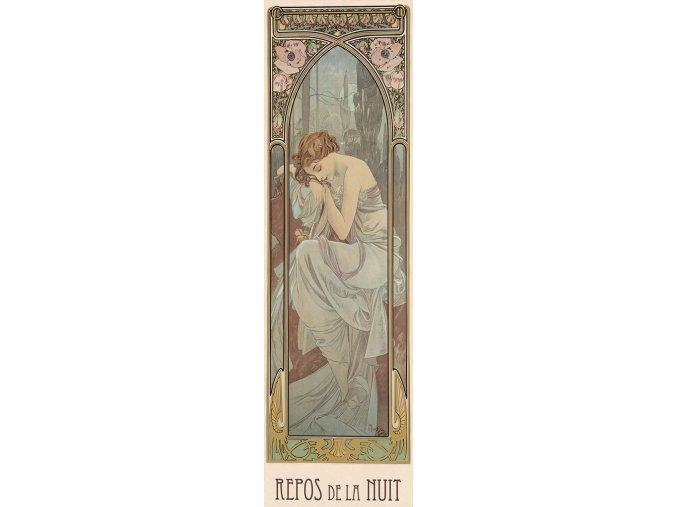 Alfons Mucha: Odpočinek noci - vertikální