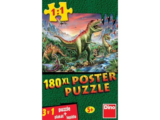 Poster Dinosauři XL + plakát a lepidlo - 180 dílků
